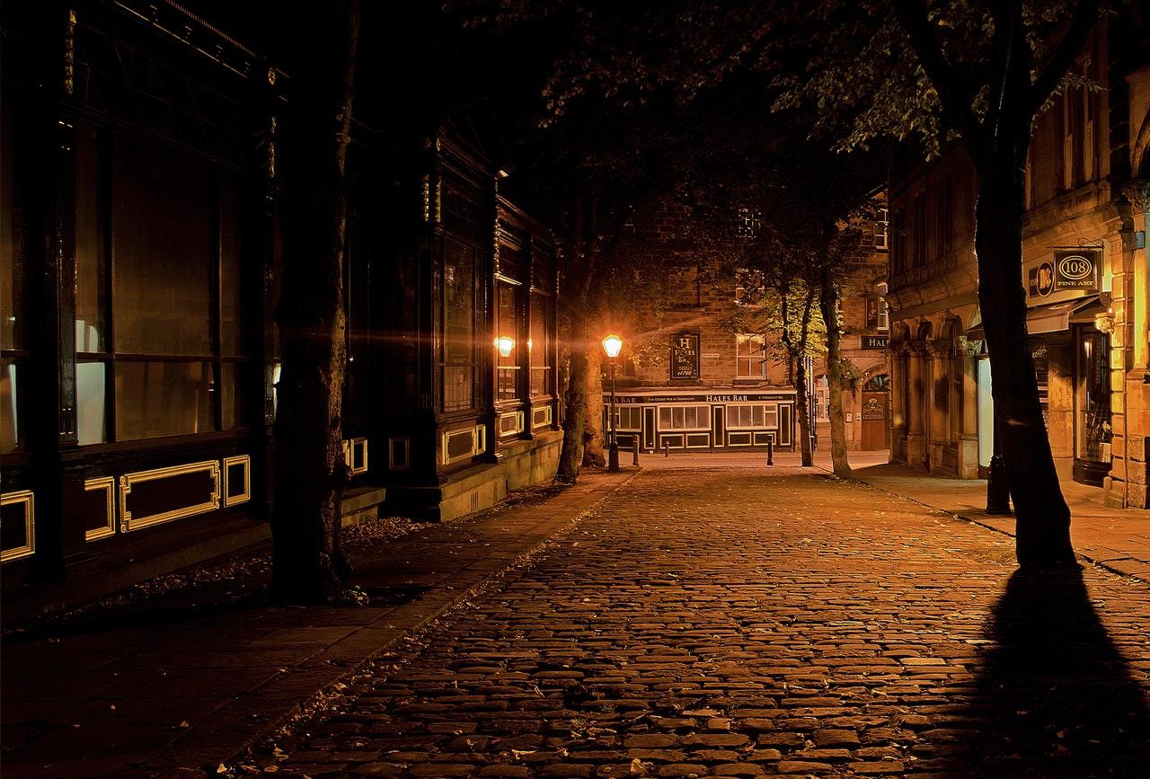 Dark cobblestone street